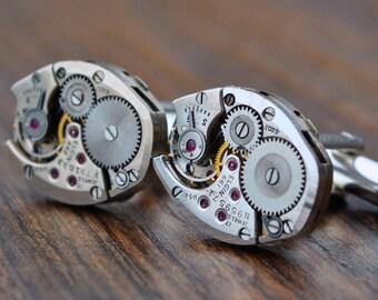 Elgin Watch Movement Cufflinks - Steampunk Gold Vintage Wedding Groom Gift Mens Christmas Present