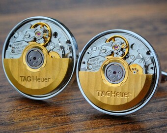 TAG Heuer Watch Movement Cufflinks - TAG Heuer Cufflinks Steampunk Cuff Links Luxury Mens Gift Vintage Watch Cufflinks Mens TAG Heuer Gift