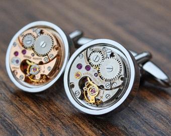 Bueche-Girod and Gruen Watch Movement Cufflinks - Steampunk Vintage Wedding Groom Gift Mens Christmas Present