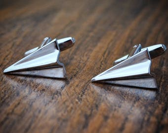 Paper 1st Anniversary Cufflinks 2016 Gift For Him Husband Plane