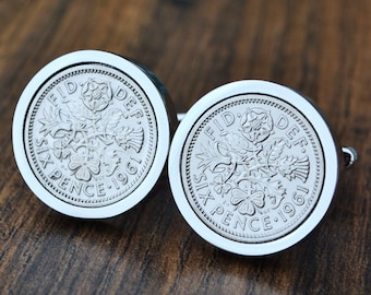 23rd Birthday Gift 1996 Dime Coin Cufflinks 23rd Anniversary 23rd Birthday Groomsmen Gift Coin Jewelry made from a 1996 Dime Gift for Him