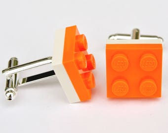 LEGO ® Plate Cufflinks - Orange and White