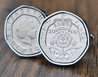 United Kingdom coin cufflinks 18 mm,men gift