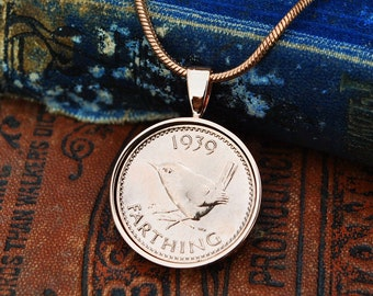 1939 80th Necklace Birthday Gift Her Farthing Coin Mum English Holly Willoughby
