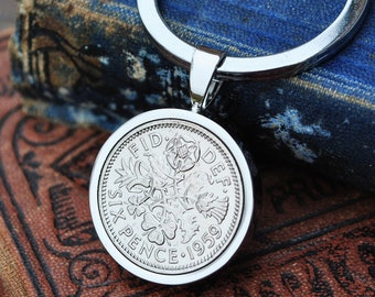 1959 60th Birthday Keyring Sixpence Coin Birth Year Key Chain Silver Mens Gift Anniversary Present Dad