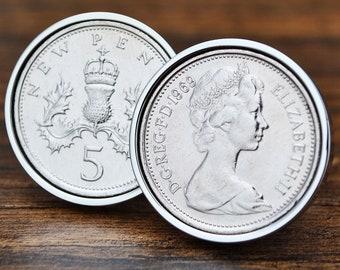 1969 50th Birthday Cufflinks Five Pence Coin 5p Mens Gift Cuff Links Anniversary