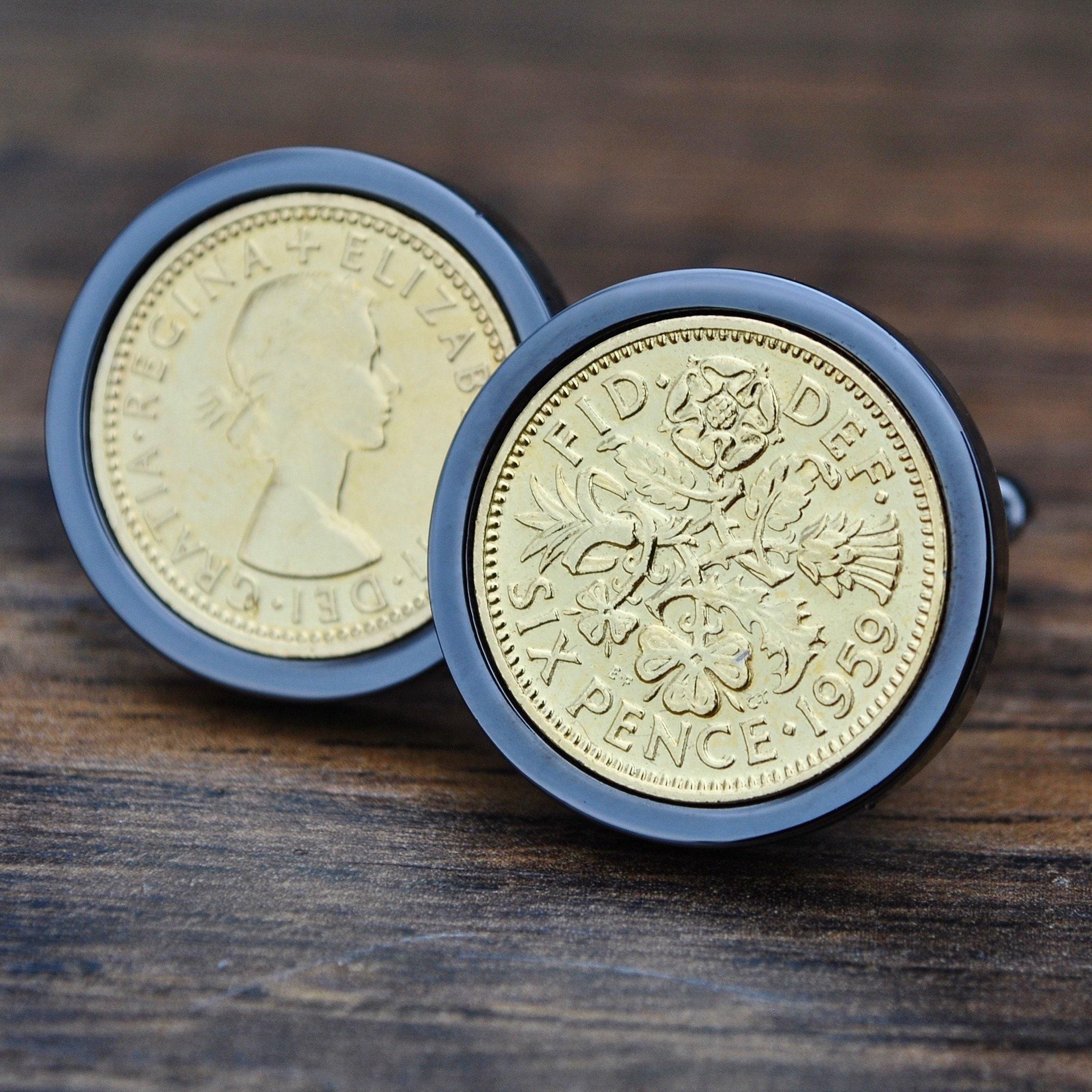 1959 60th Birthday Ideas 24k Gold Coin Cufflinks Born In Mens Gift Him Dad Son Anniversary