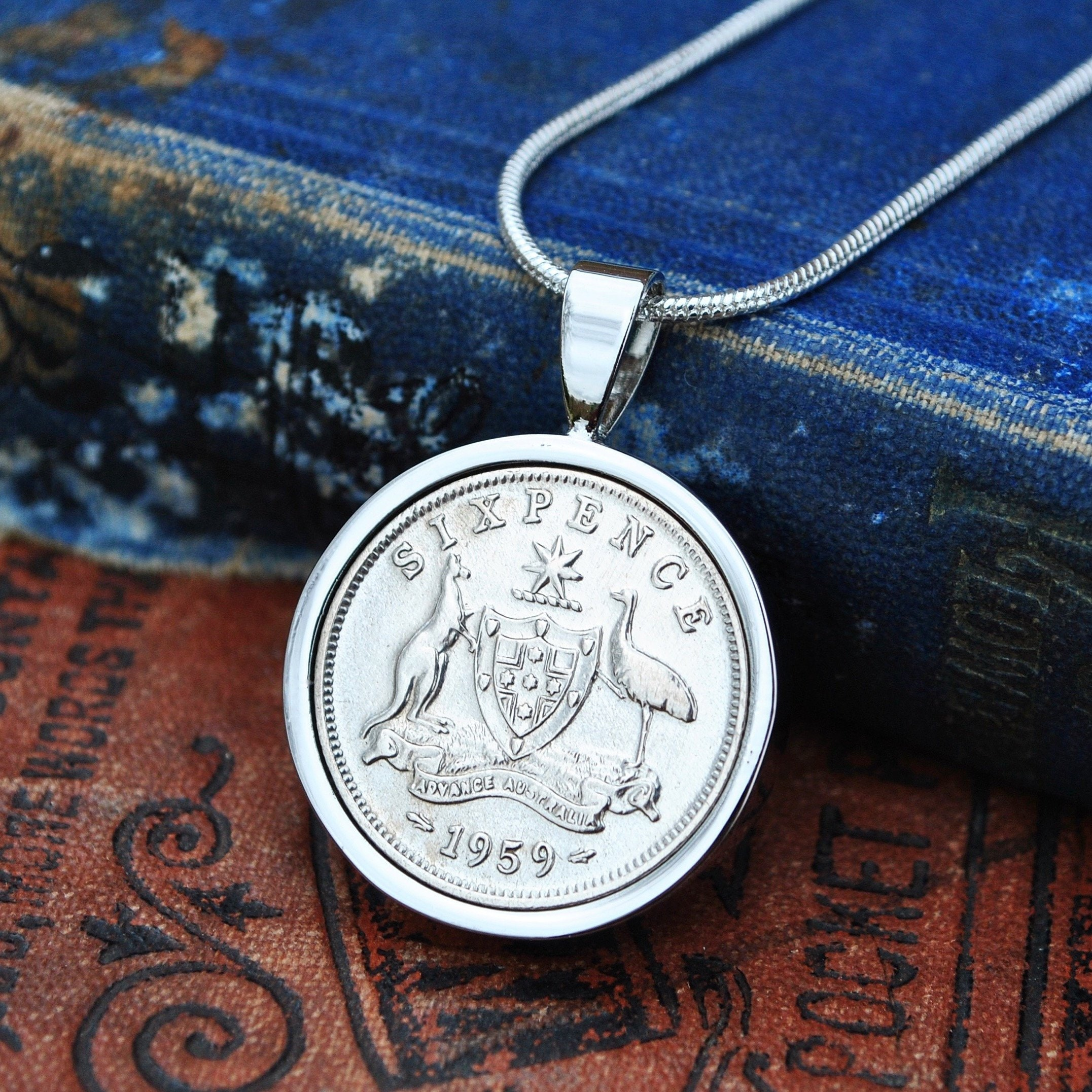 1959 60th Birthday Gift Her Necklace Sixpence Coin Australian Silver Ladies Wife Mum Anniversary
