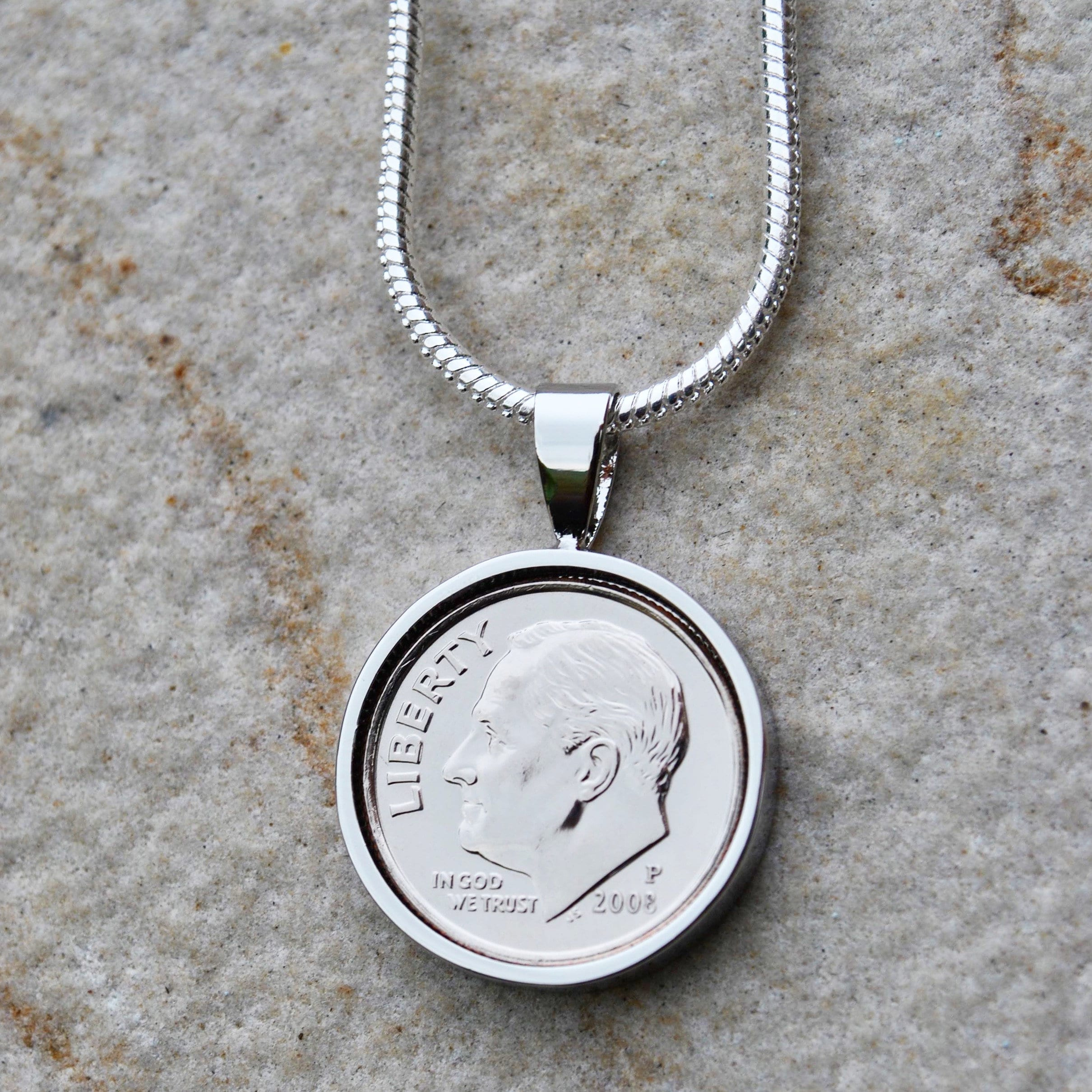 2008 10th tin anniversary dime necklace 2008 necklace tin