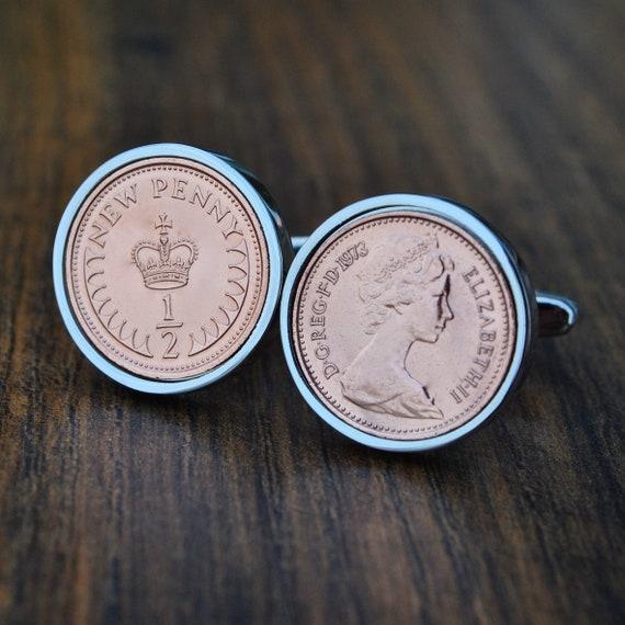 1973 45th Birthday Cufflinks, Half Penny Cufflinks, 45th Birthday Coin  Cufflinks, Mens Birthday Copper Anniversary Present Gift 1973 Ladies