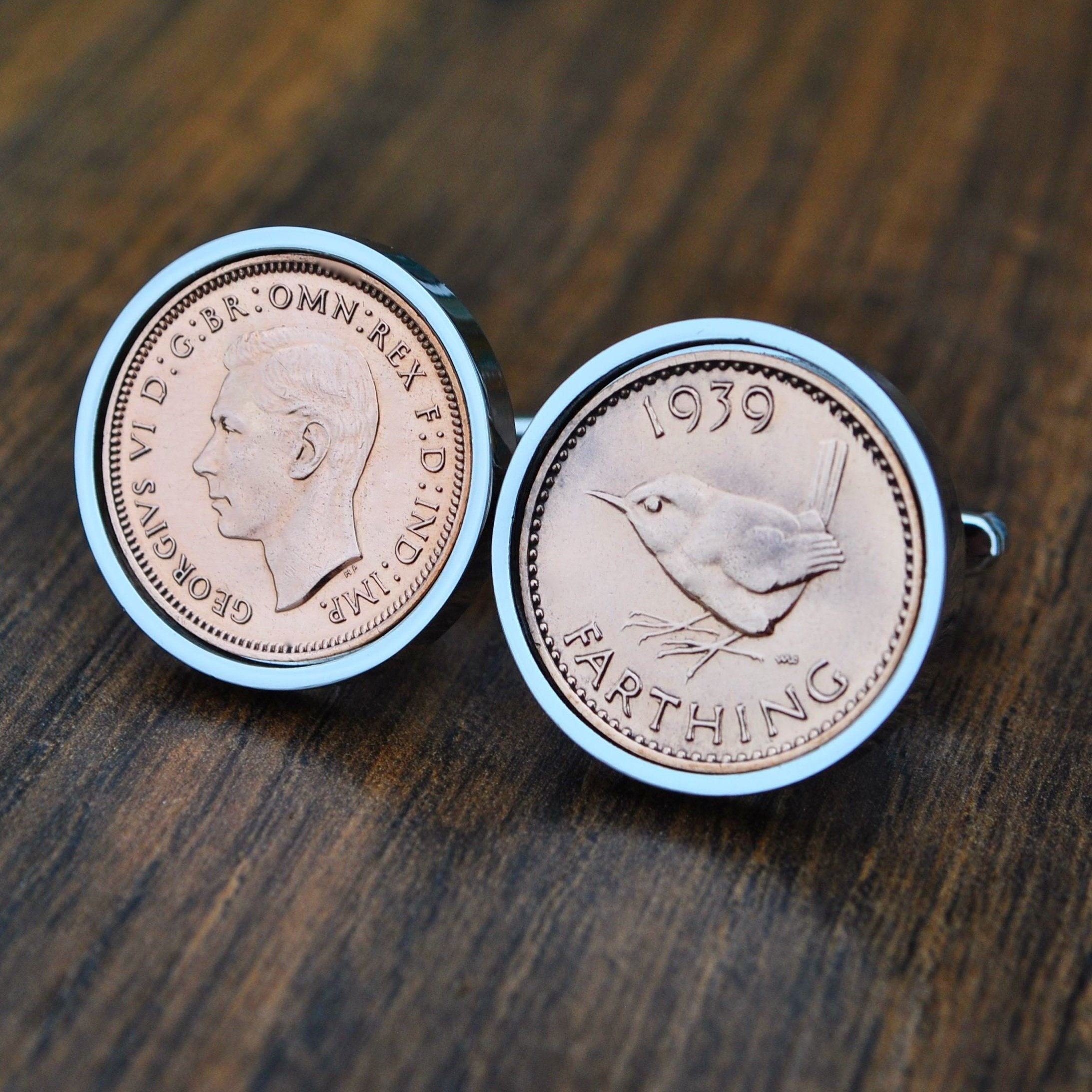 1939 80th Cufflinks, 80th Coin Cufflinks, 80th Birthday, 80th Gift 1939, Farthing Cufflinks, Dad 80th Gift, Grandad 80th Gift