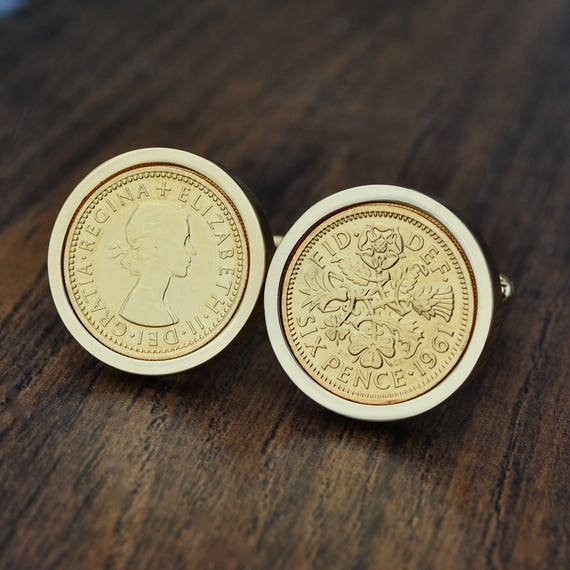 1961 English Sixpence Cufflinks 58th Birthday