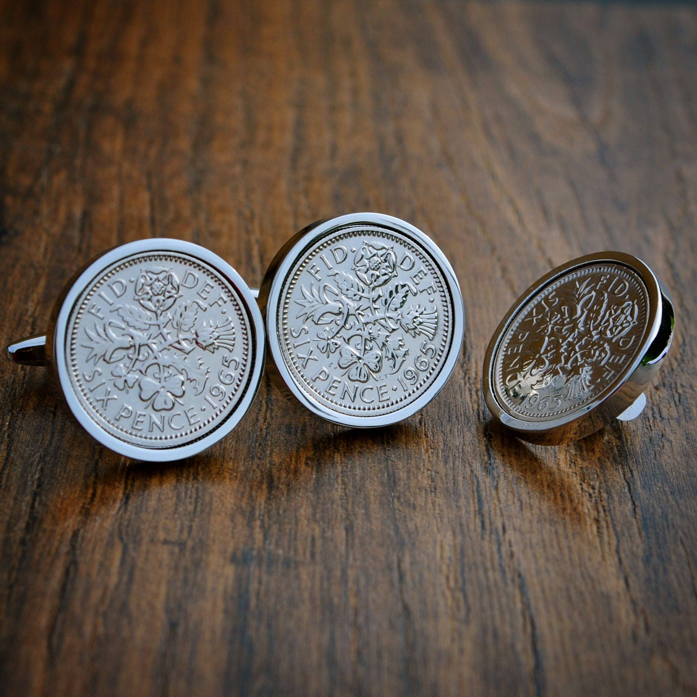LAPEL PIN SET 1967-53rd BIRTHDAY SIXPENCE COIN CUFF LINKS AND TIE