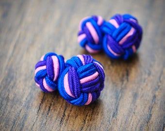 Silk Knot Cufflinks - Blue, Purple and Pink