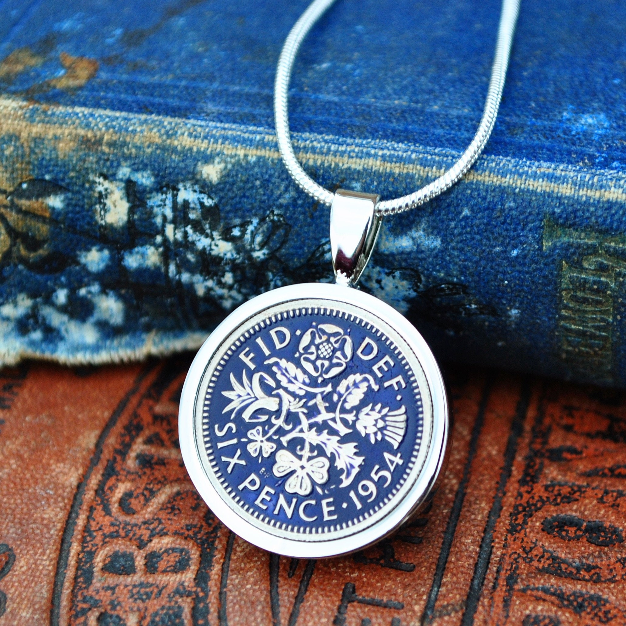 1954 65th Birthday Gift Retirement Her Necklace Sixpence Something Blue Coin Mum Girlfriend