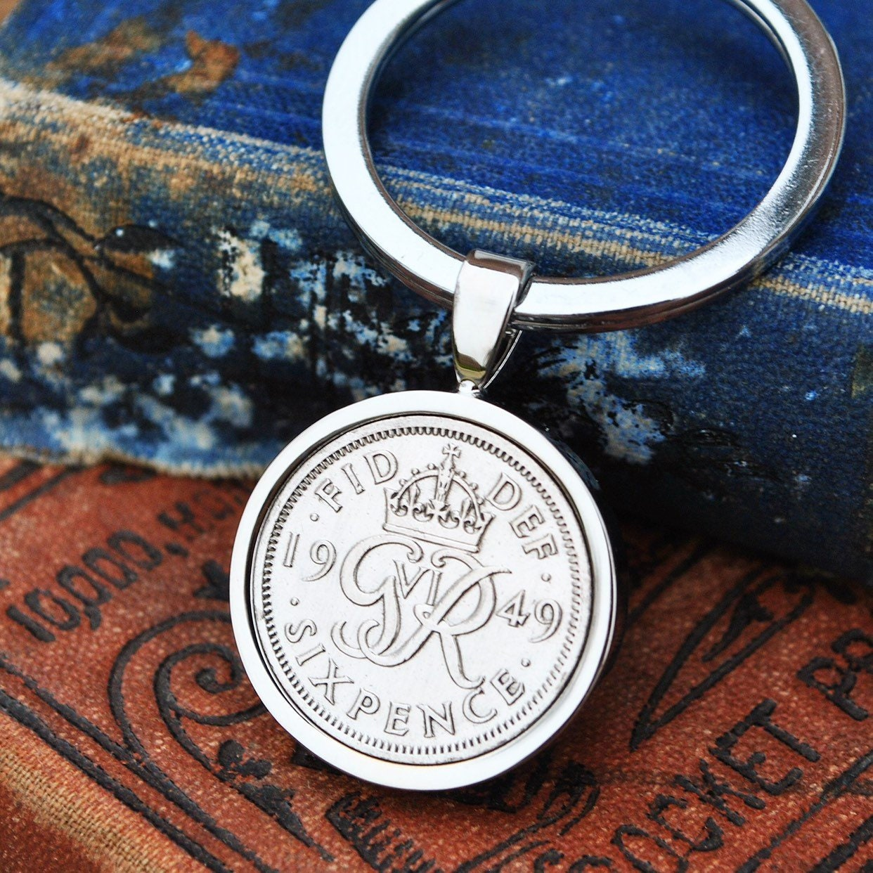 1949 70th Birthday Keyring Sixpence Coin Birth Year Key Chain Silver Mens Gift Present Dad