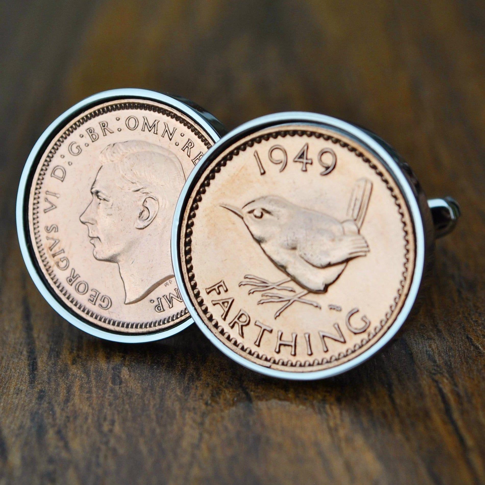70th Birthday Gift Him 1949 Cufflinks Farthing Born In Coin CufflinksMens Anniversary Dad