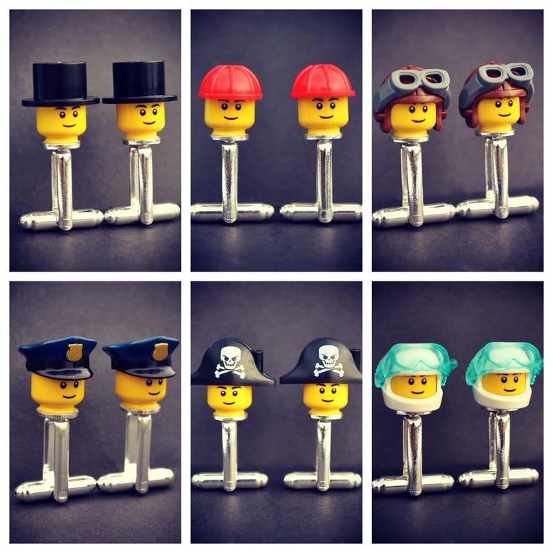 LEGO\u00ae Top Hat Cufflinks Scuba Diver Police Officer Bald- Minifigure Job Cufflinks Pirate Cowboy Builder Pilot