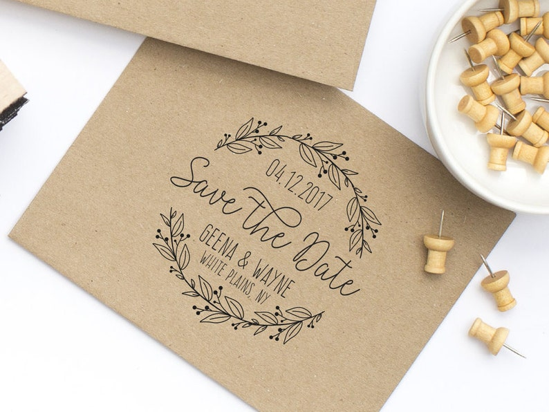 Save The Date Stamp Wedding With Wreath