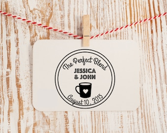 Custom Wedding Favor Stamp, Coffee Wedding Stamp, Style No. 56W