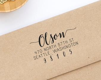 Return Address Stamp, Wood or Self-Inking Address Stamp, Wedding Invitation Stamp, Personalized Stamp, Housewarming Gift, Style No. 113