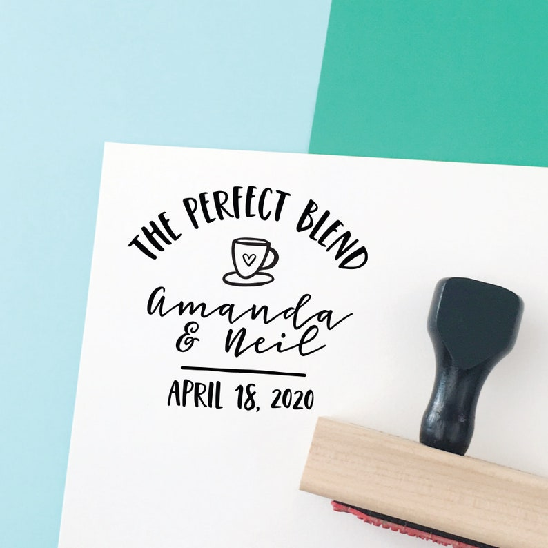 The Perfect Blend Wedding Favor Stamp Stamp 77W Coffee Stamp Coffee Wedding Favor Unique Wedding Favor Coffee Lovers Wedding Stamp