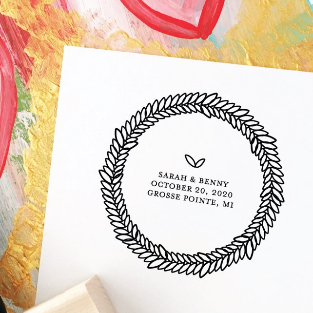 Save The Date Stamp Wedding Wreath Dates Modern With Names And Custom 69W