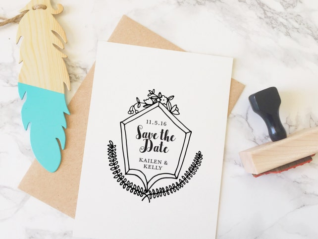 Save The Date Stamp Wedding Dates With Names And Custom