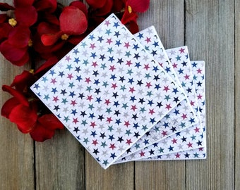 Coasters, Coaster Set, Ceramic Tile Coasters, Tile Coasters, Star Decor, Housewarming Gift, Home Decor, Birthday Gift, Rustic Decor, For Her