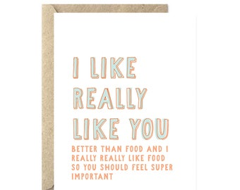 I Like Really Like You, Love Card, Just Because Card, Valentine's Day Card, Thinking of You Card, Funny Love Card - 033C