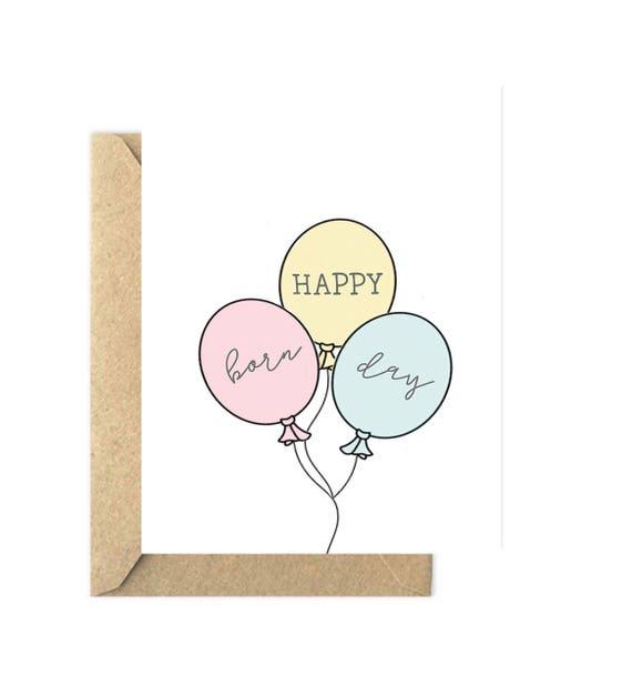 Happy Born Day Card Happy Birthday Card Balloons Card Etsy