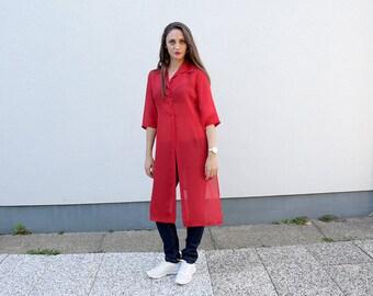 1635d1e5d407 90 s Minimalist Women Tunic Dress. Red Elegant Summer Maxi Dress Beach Dress  Day Dress Modern Dress Women Fashion