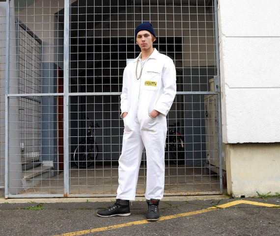 80s Men Workwear Overall. Vintage White Coveralls