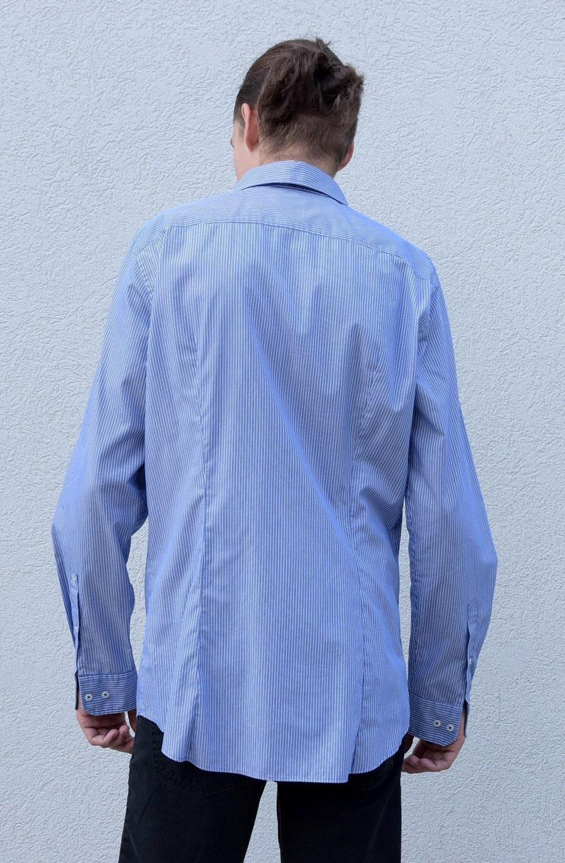 BA\u00cfSAP Navy flowers Blue short sleeve shirt