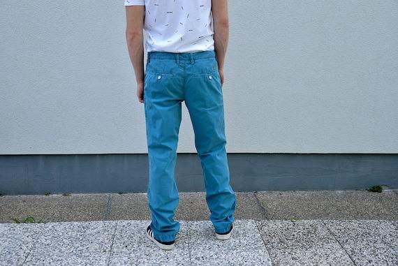 90 ' s HUGO BOSS homme Jeans. Bleu Slim Slim Bleu Fit de la jambe droite Jeans masculine Mensfashion copain cadeau homme Style Boyfriend, taille 32'' moyenne M 90f02d