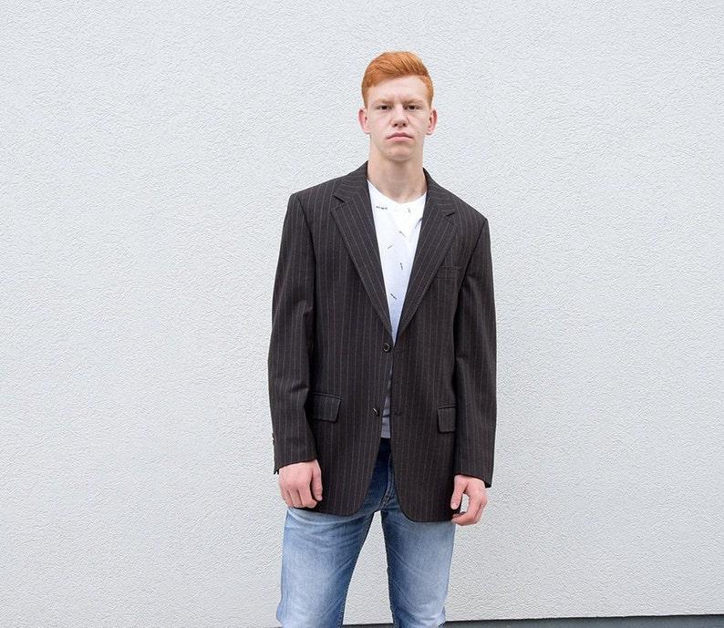 659f9ec63c Vintage HUGO BOSS Mens Wool Jacket.Brown Striped Virgin Wool | Etsy