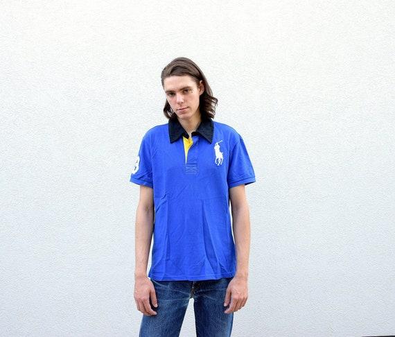Vintage 90s Mens POLO RALPH LAUREN Custom Fit Polo Shirt Big Logo Blue Cotton Polo Shirt Boyfriend Gift Streetwear, size Large L