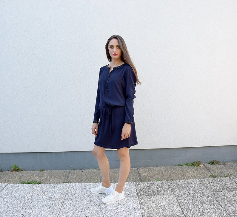 cf5ba0058665 90 s Minimalist Women Dress    Modern Navy Blue Sport