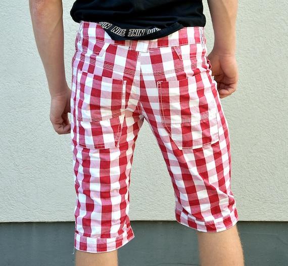 Men 80s Plaid  Boho Shorts . Hipster pants Rave C… - image 4