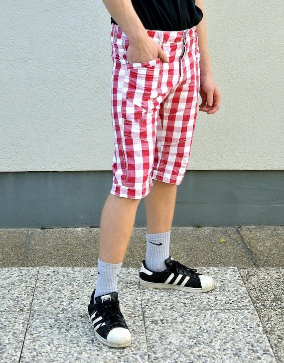 Men 80s Plaid  Boho Shorts . Hipster pants Rave C… - image 2