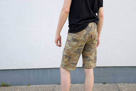 25f7870cc5 Men camouflage shorts 90 s SISLEY mens jeans denim shorts