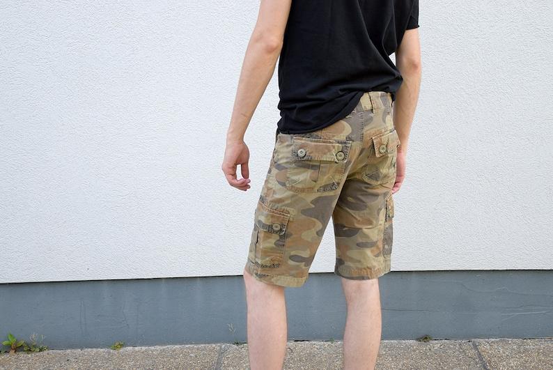 Men Vintage Utility Shorts size Small S 90/'s SISLEY  Camo Cargo Shorts Mens Denim Shorts  Festival Jeans Shorts Menswear Outerwear