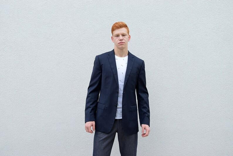 06af774044 Men's ZEGNA Jacket. Men Blazer Slim Fit Blue Blazer Modern Casual Blazer  Urban Hipster Menswear Mens Fashion Men Style,Medium M