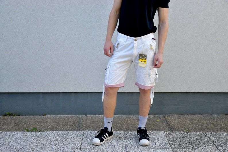 9e0d23422f Men Bermuda Jeans Shorts // White Summer Cargo Cotton Shorts | Etsy