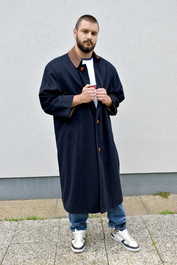 Vintage 80s Blue Workwear Coat . Men Utility Trenc