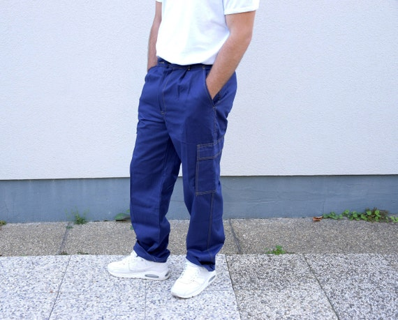 Vintage Men Workwear Pants.Moleskin Workwear Cargo