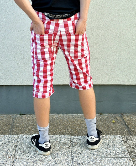 Men 80s Plaid  Boho Shorts . Hipster pants Rave C… - image 3