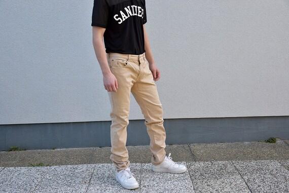 90 ' s RALPH Vintage POLO RALPH s LAUREN Jeans Slim Fit droit Beige kaki pantalon Safari utilitaire Style masculine homme jambe mode cadeau petit ami, petite d32e28