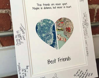 True Friends Are Never Apart, Going Away Present for best Friends, Long Distance Friendship Moving Away Gift, Double Map Art, Friendship