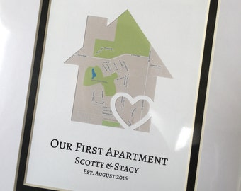 Our First Apartment Gift, Our First Place Map Art, Housewarming Gift, First Apartment Together Map, Apartment Warming Gift, Roommate Gift